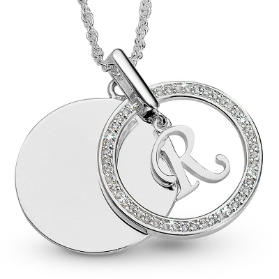 Initial R Swing Necklace with complimentary Filigree Keepsake Box - UPC 825008177581