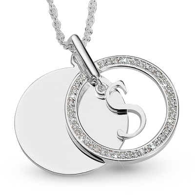 Initial S Swing Necklace with complimentary Filigree Keepsake Box - UPC 825008177598