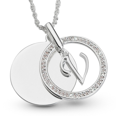 Initial V Swing Necklace with complimentary Filigree Keepsake Box