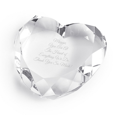 Engraved Clear Heart Paperweight