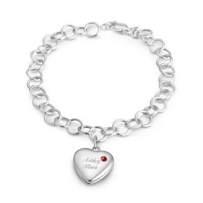 January Birthstone Locket Bracelet with complimentary Filigree Keepsake Box - $74.99
