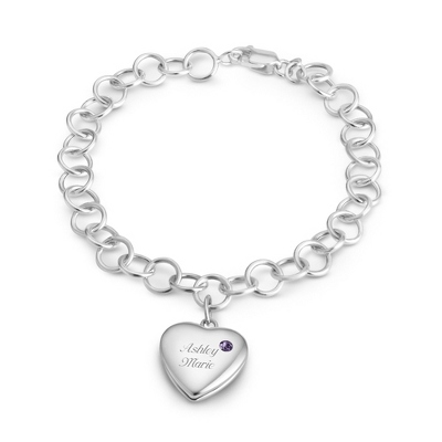 February Birthstone Locket Bracelet with complimentary Filigree Keepsake Box - $69.99