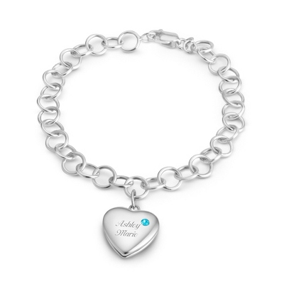 March Birthstone Locket Bracelet with complimentary Filigree Keepsake Box - $74.99