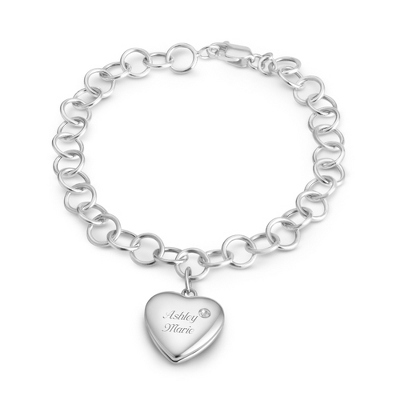 April Birthstone Locket Bracelet with complimentary Filigree Keepsake Box - $74.99