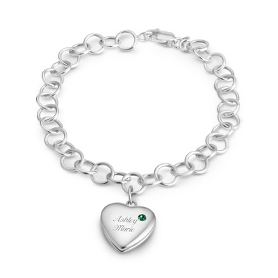 May Birthstone Locket Bracelet with complimentary Filigree Keepsake Box - $79.99