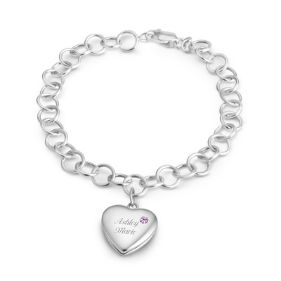 June Birthstone Locket Bracelet with complimentary Filigree Keepsake Box - $74.99