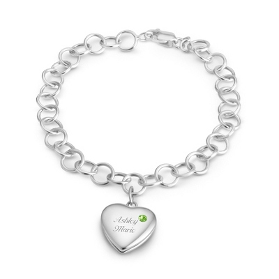 August Birthstone Locket Bracelet with complimentary Filigree Keepsake Box - $69.99