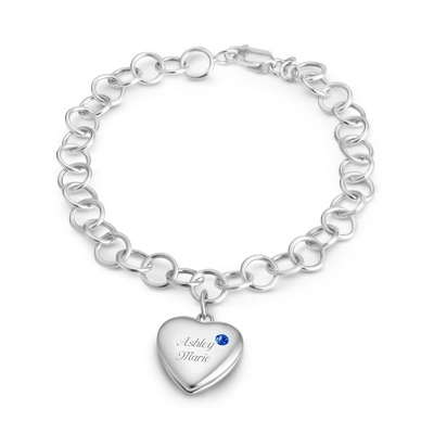 September Birthstone Locket Bracelet with complimentary Filigree Keepsake Box - Sterling Silver Family Birthstone Jewelry