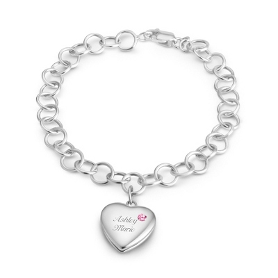 October Birthstone Locket Bracelet with complimentary Filigree Keepsake Box - $74.99