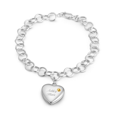 November Birthstone Locket Bracelet with complimentary Filigree Keepsake Box - Sterling Silver Family Birthstone Jewelry