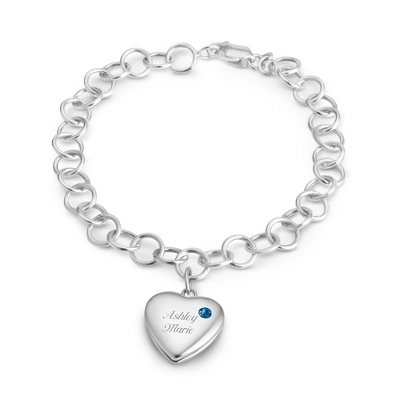 December Birthstone Locket Bracelet with complimentary Filigree Keepsake Box - $74.99