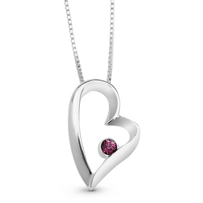 Sterling Birthstone Heart Necklace with complimentary Filigree Keepsake Box - Sterling Silver Necklaces