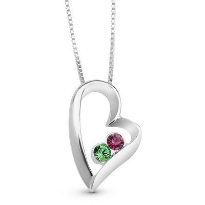 Sterling 2 Birthstone Heart Necklace with complimentary Filigree Keepsake Box