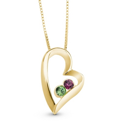 14K Gold/Sterling 2 Birthstone Necklace with complimentary Filigree Keepsake Box