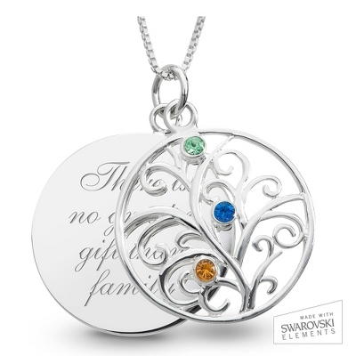 Sterling 3 Birthstone Family Necklace with complimentary Filigree Keepsake Box