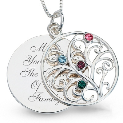 Sterling 4 Birthstone Family Necklace with complimentary Filigree Keepsake Box