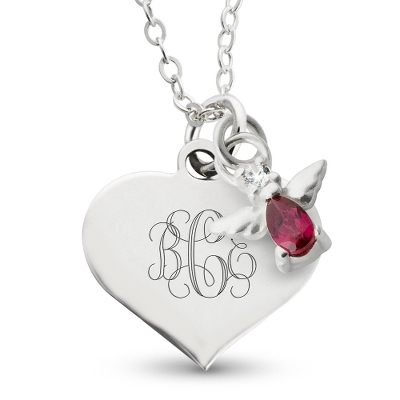 Girls Heart Necklace with Birthstone