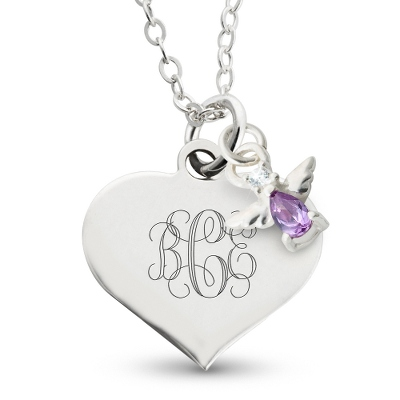Girl's February Birthstone Necklace with complimentary Filigree Heart Box - $40.00