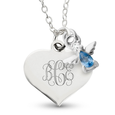 Girl's March Birthstone Necklace with complimentary Filigree Heart Box