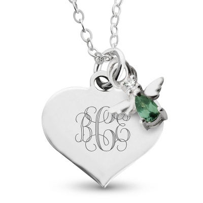 Girl's May Birthstone Necklace with complimentary Filigree Heart Box