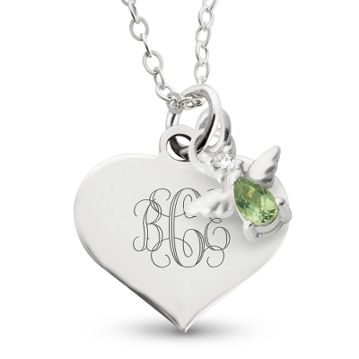 Girl's August Birthstone Necklace with complimentary Filigree Heart Box