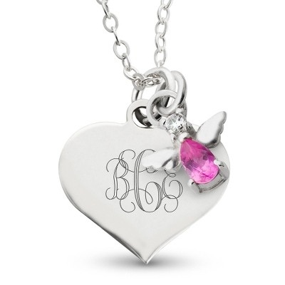 Girl's October Birthstone Necklace with complimentary Filigree Heart Box