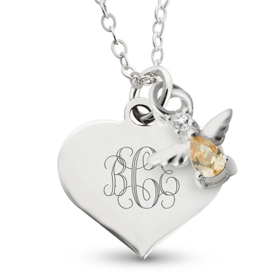 Girl's November Birthstone Necklace with complimentary Filigree Heart Box