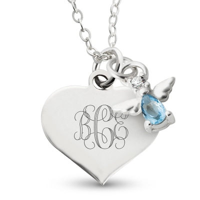 Girl's December Birthstone Necklace with complimentary Filigree Heart Box - Flower Girl