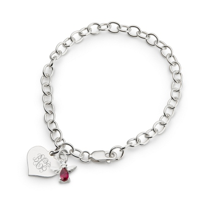 Girl's January Birthstone Angel Bracelet with complimentary Filigree Heart Box