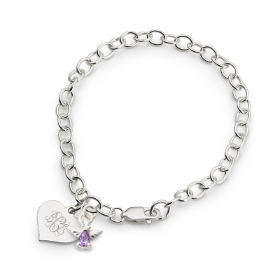 Girl's February Birthstone Angel Bracelet with complimentary Filigree Heart Box