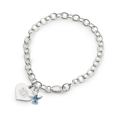 Girl's March Birthstone Angel Bracelet with complimentary Filigree Heart Box
