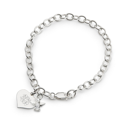 Girl's April Birthstone Angel Bracelet with complimentary Filigree Heart Box
