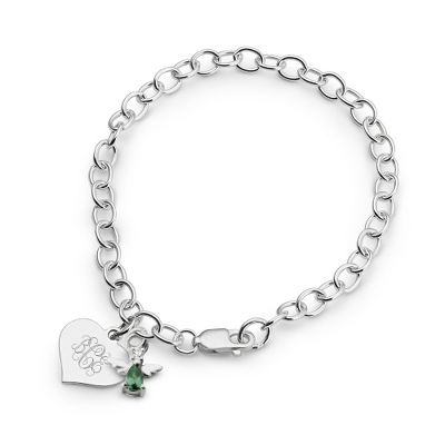 Girl's May Birthstone Angel Bracelet with complimentary Filigree Heart Box