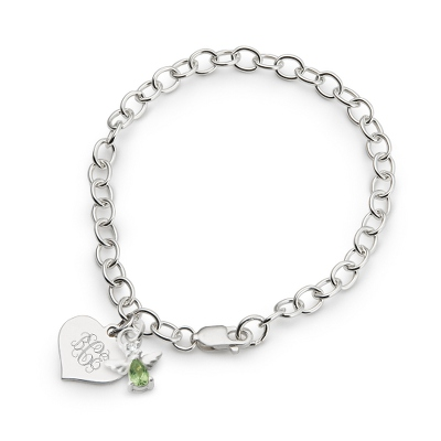 Girl's August Birthstone Angel Bracelet with complimentary Filigree Heart Box