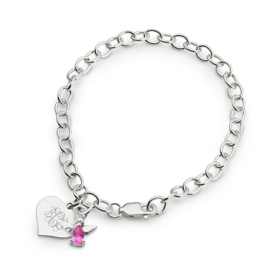 Girl's October Birthstone Angel Bracelet with complimentary Filigree Heart Box