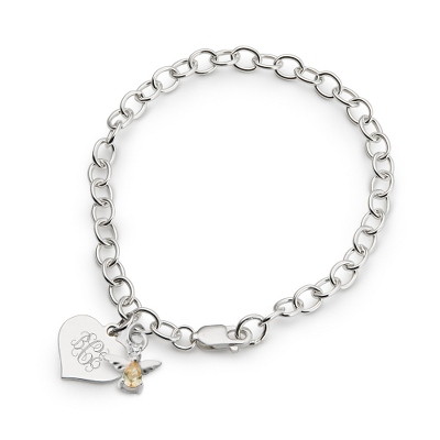 Girl's November Birthstone Angel Bracelet with complimentary Filigree Heart Box