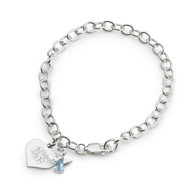 Girl's December Birthstone Angel Bracelet with complimentary Filigree Heart Box