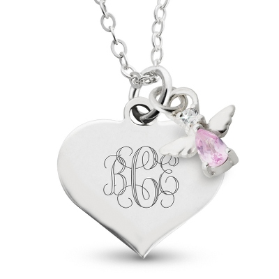 Girl's June Birthstone Angel Necklace with complimentary Filigree Heart Box