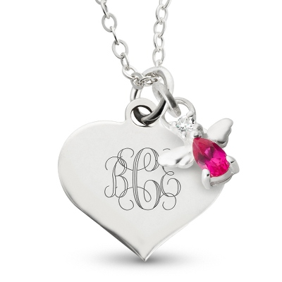 Girl's July Birthstone Angel Necklace with complimentary Filigree Heart Box