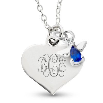 Girl's September Birthstone Angel Necklace with complimentary Filigree Heart Box