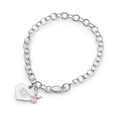 Girl's June Birthstone Angel Bracelet with complimentary Filigree Heart Box