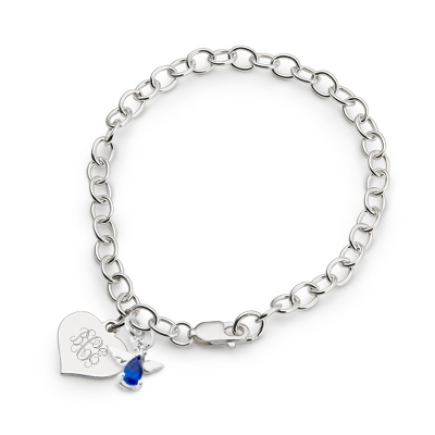 Girl's September Birthstone Angel Bracelet with complimentary Filigree Heart Box