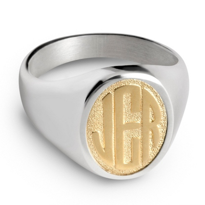 14K Gold Monogram Men's Ring with complimentary Weave Texture Valet Box - 25th & 50th Anniversary Gifts