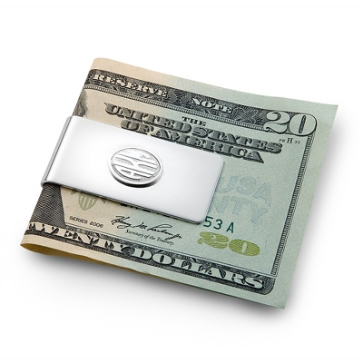 Sterling Silver Monogram Money Clip with complimentary Weave Texture Valet Box