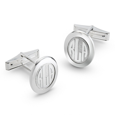 Sterling Silver Monogram Cuff Links with complimentary Weave Texture Valet Box