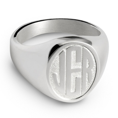 Sterling Silver Monogram Men's Ring with complimentary Weave Texture Valet Box
