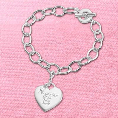 Heart Charm Bracelet with complimentary Filigree Keepsake Box