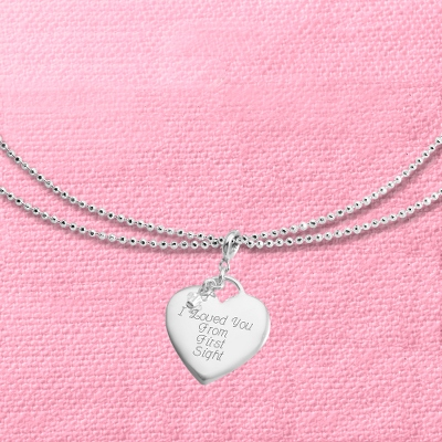 "Heart Charm 40"" Necklace with complimentary Filigree Keepsake Box"