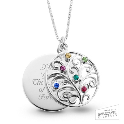 Sterling 6 Birthstone Family Necklace with complimentary Filigree Keepsake Box