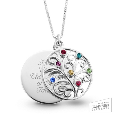 Sterling 7 Birthstone Family Necklace with complimentary Filigree Keepsake Box